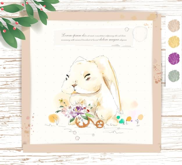 Coelho de animal bonito tropical aquarela de pintados à mão em um galho com flores tropicais e folhas