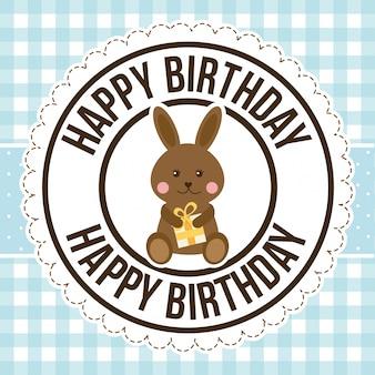 Coelho de aniversário sobre padrão, feliz aniversário cartão