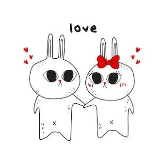 Coelho de casal desenhados à mão. ilustração de dia dos namorados.