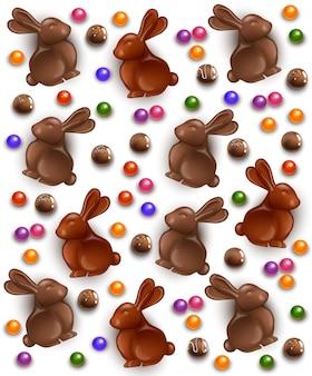 Coelho de chocolate e ovos de fundo