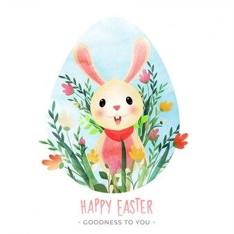 Coelho de desenho animado com floral em forma de ovo em branco