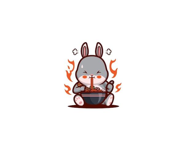 Coelho de desenho animado comendo macarrão ramen picante