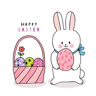 Coelho de dia de páscoa bonito dos desenhos animados e ovos coloridos na cesta