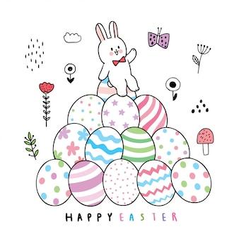 Coelho de dia de páscoa bonito dos desenhos animados e ovos coloridos