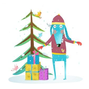 Coelho de férias de inverno divertido para crianças com árvore de peles e presentes