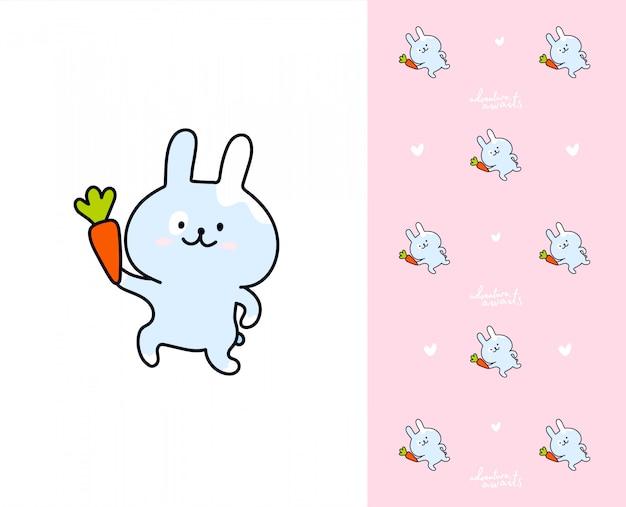 Coelho de kawaii com cenoura. padrão com coelhos