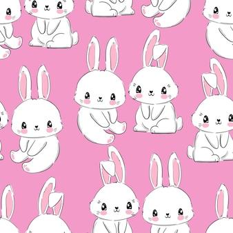 Coelho de padrão sem emenda. coelho desenhado de mão, imprimir o fundo do projeto do coelho. vector seamless. imprimir design têxtil para moda infantil.