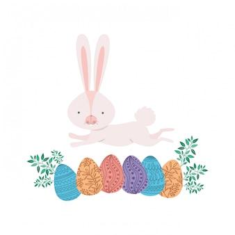 Coelho de páscoa com ícone isolado de ovo