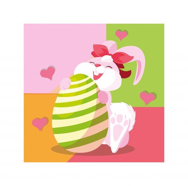 Coelho de páscoa com ovo, cartão de felicitações