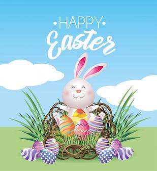 Coelho de páscoa feliz com decoração de ovos dentro do ninho