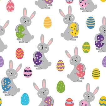 Coelho de páscoa fofo com padrão sem emenda de ovo primavera em estilo cartoon para crianças com coelho engraçado