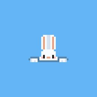Coelho de pixel subindo do buraco