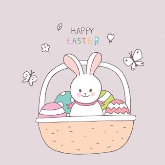 Coelho do dia da páscoa dos desenhos animados e vetor colorido do ovo.