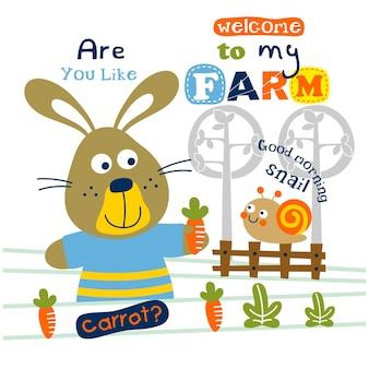 Coelho e caracol no desenho animado animal da fazenda