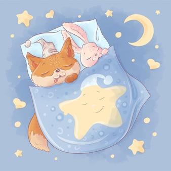Coelho e raposa bonito dos desenhos animados dormem debaixo das cobertas em uma noite estrelada.