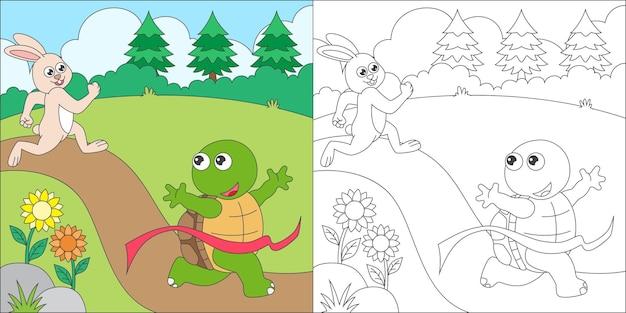 Coelho e tartaruga para colorir