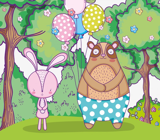 Coelho e urso feliz aniversário com balões