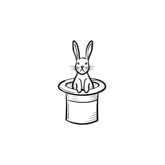 Coelho em um ícone de doodle de contorno de mão desenhada de chapéu mágico. chapéu de cilindro com ilustração de desenho vetorial coelho para impressão, web, mobile e infográficos isolados no fundo branco. Vetor Premium