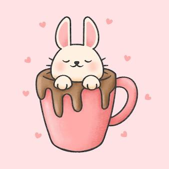 Coelho em uma xícara de chocolate cartoon estilo mão desenhada