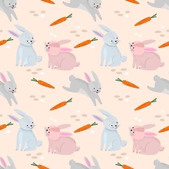Coelho engraçado com padrão de cenouras.