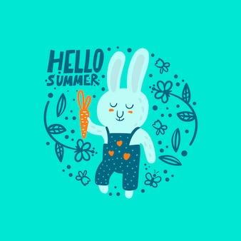 Coelho engraçado dos desenhos animados com cenoura