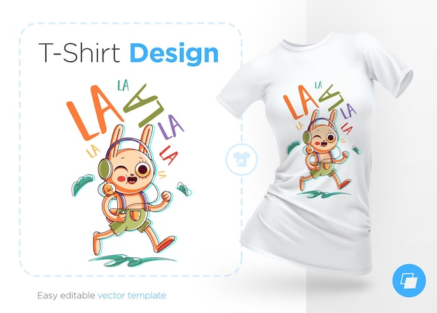 Coelho engraçado ouvindo música e cantando ilustração e design de camisetas