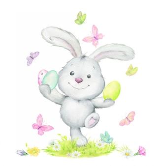 Coelho engraçado, pulando, segurando os ovos de páscoa, rodeados de borboletas. aguarela