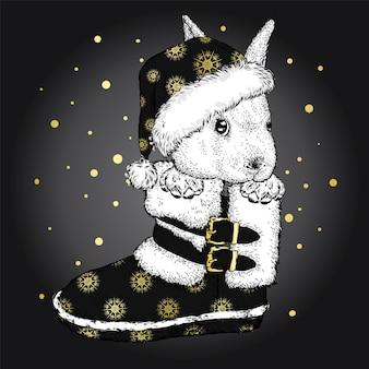 Coelho engraçado sentado em uma bota de natal. ilustração vetorial