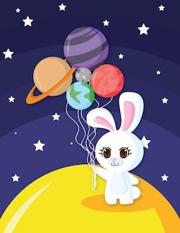 Coelho feliz com balões do planeta