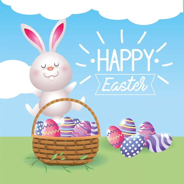Coelho feliz e decoração de ovos com cesto