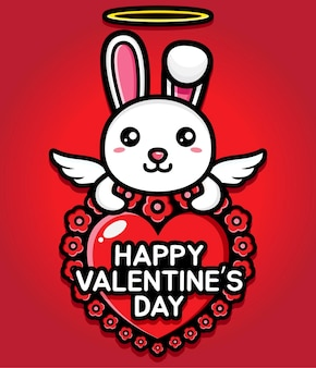Coelho fofo abraçando um coração com saudações felizes do dia dos namorados