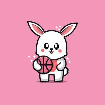 Coelho fofo brincando de ilustração de desenho animado de basquete