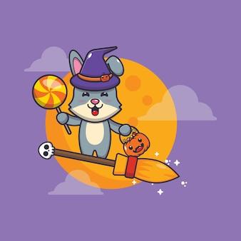 Coelho fofo bruxa voar com vassoura na noite de halloween ilustração fofa dos desenhos animados de halloween