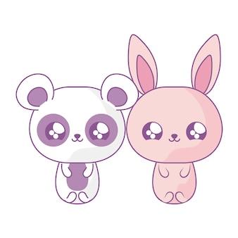 Coelho fofo com urso panda bebê animais estilo kawaii