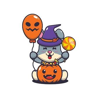 Coelho fofo felicidade no dia do dia das bruxas ilustração fofa dos desenhos animados de halloween