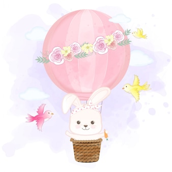 Coelho fofo flutuando no balão de ar quente e pássaros mão ilustrações desenhadas