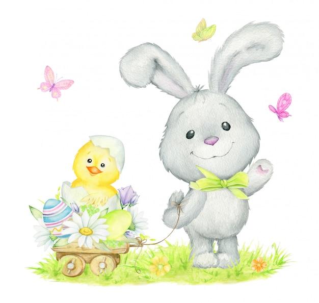 Coelho fofo, sortudo, frango, flores, ovos de páscoa. aguarela