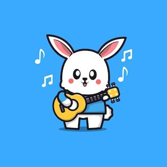 Coelho fofo tocar guitarra