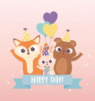 Coelho fofo urso e raposa com chapéus de festa presente balões animais celebração feliz dia cartão