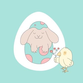 Coelho, galinha. cartão de páscoa