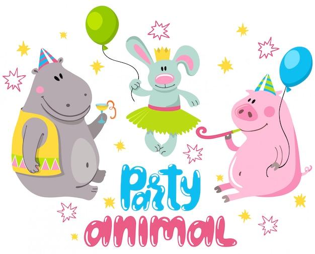 Coelho, hipopótamo e um porco em um feriado.