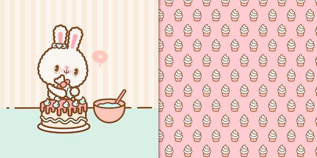 Coelho kawaii bonito, preparando um bolo de aniversário