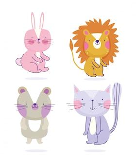 Coelho leão gato e ratos animais dos desenhos animados texto bonito