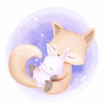 Coelho mãe do bebê abraço raposa