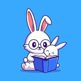 Coelho, mãe e bebê, coelho lendo livro ilustração de desenho animado