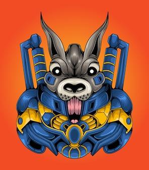 Coelho mascote de vetor robótico