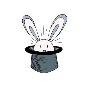 Coelho no chapéu. ícone do vetor