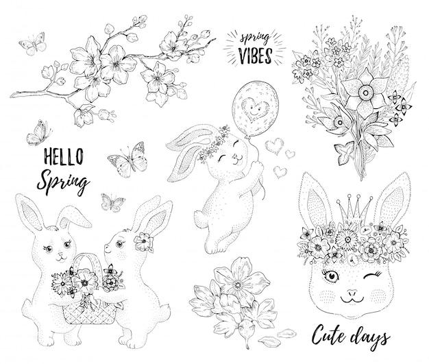 Coelho primavera conjunto com coelhos bonitos, flor de cerejeira e flores.