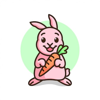 Coelho rosa bonito que sorri e traga uma cenoura.