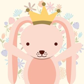 Coelho rosa bonito usando decoração de flores da coroa